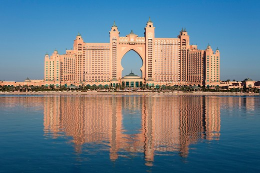 United Arab Emirates, Dubai, Atlantis Hotel situated on The Palm Jumeirah. : Stock Photo