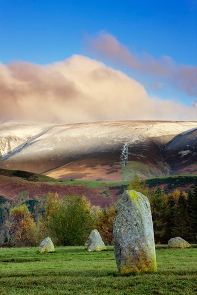 UK- England, Cumbria, Keswick, Castlerigg Stone Circle : Stock Photo