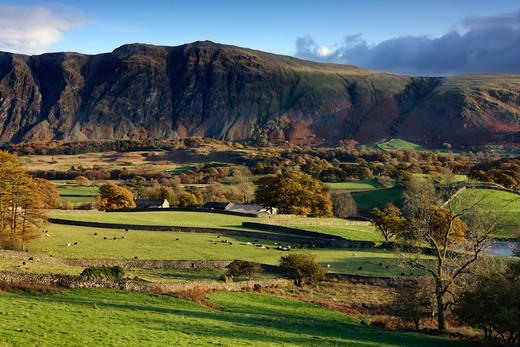 UK- England, Cumbria, Wasdale, View over Wasdale in autumn : Stock Photo
