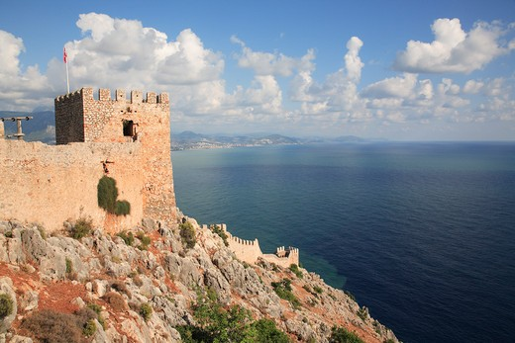 Turkey, Mediterranean, Alanya, Fortress and sea : Stock Photo