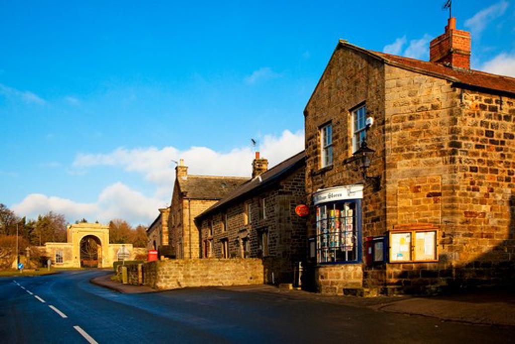 Stock Photo: 1885-27258 UK - England, Yorkshire, Follifoot , Main street and Rudding Gates