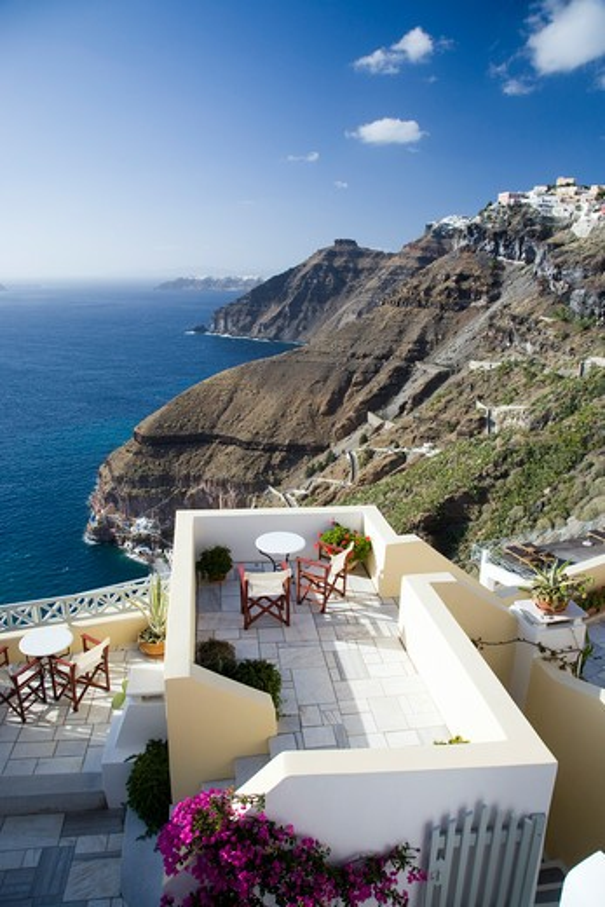 Stock Photo: 1885-27278 Greek Islands, Santorini Island, Fira, Sea and cliffs from terrace