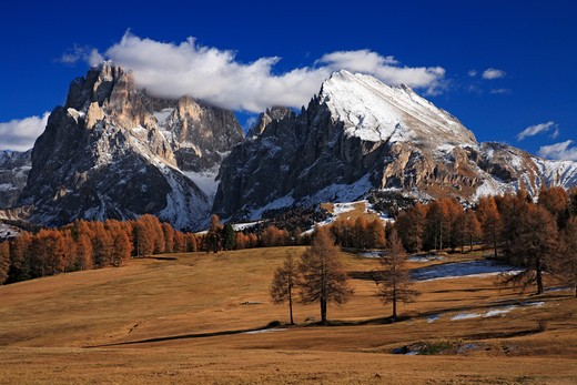 Italy, Italian Dolomites, Alpe di Siusi, Sasso Lungo and Sasso Piatto : Stock Photo