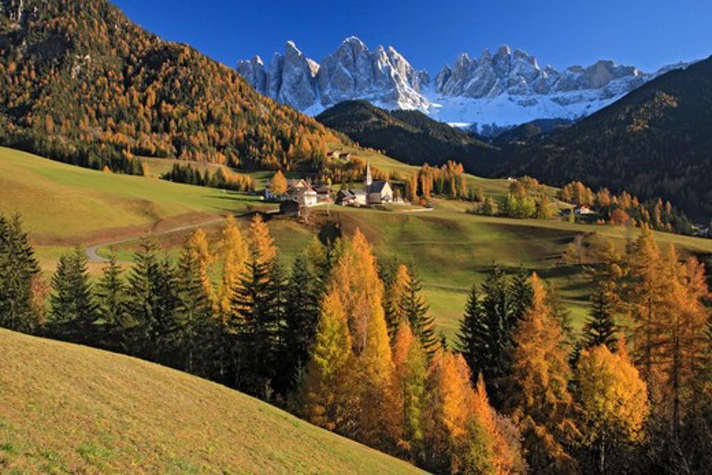Stock Photo: 1885-27436 Italy, Italian Dolomites, Val di Funes, Santa Maddalena and Le Odle mountains in autumn