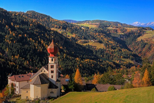 Italy, Italian Dolomites, Tires, Church and alpine scenery in autumn : Stock Photo