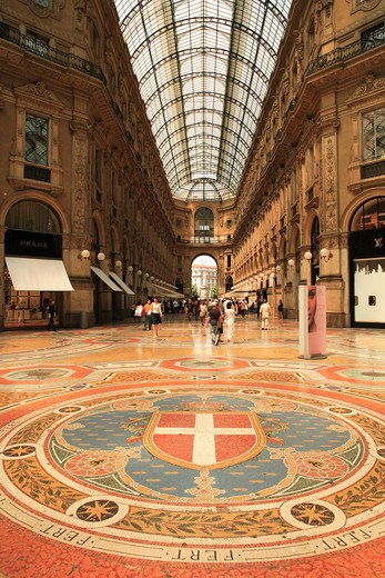 Italy, Lombardy, Milan, Galleria Vittorio - interior mosaic floor : Stock Photo