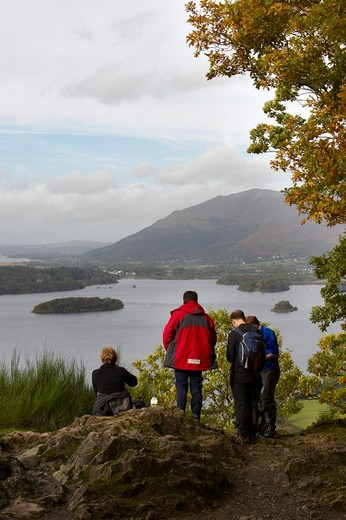 UK - England, Cumbria, Lake District National Park, Hikers at Derwent Water : Stock Photo