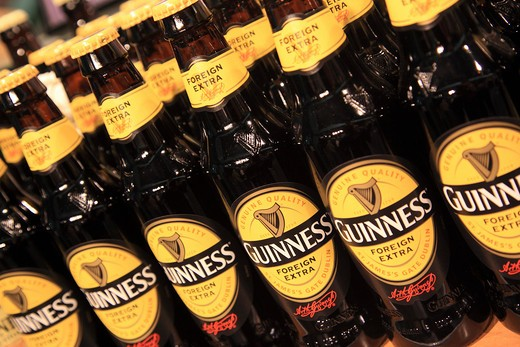 Ireland, County Dublin, Dublin, Bottles of Guinness : Stock Photo
