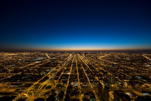 Stock Photo: 1885-28080 USA, Illinois, Chicago, View over city looking west at dusk