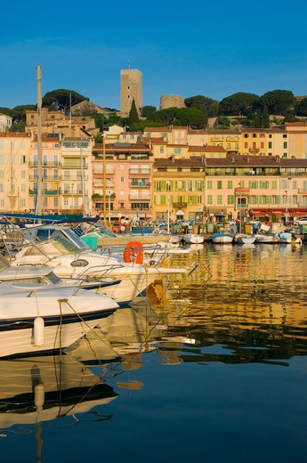 France, Cote d'Azur, Cannes, Le Suquet - Old Town and Old Harbour : Stock Photo