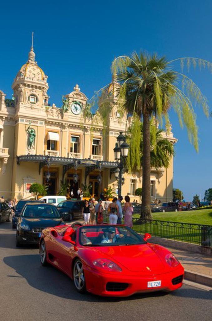Stock Photo: 1885-28188 Monaco, Cote d'Azur, Monte Carlo, Sports car outside the Grand Casino