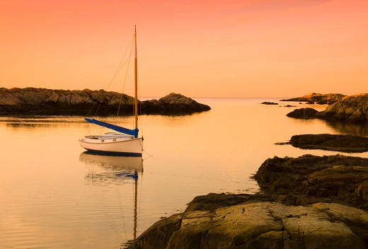 USA, Rhode Island, Newport, Coastal scene at sunset : Stock Photo