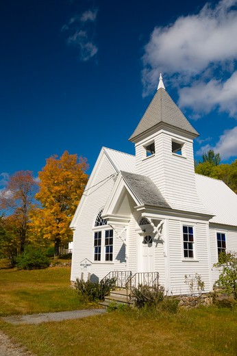 USA, Maine, Newry, Newry Community Church in autumn : Stock Photo