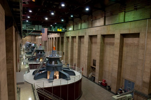 USA, Nevada, Hoover Dam, Interior - Turbine Hall : Stock Photo