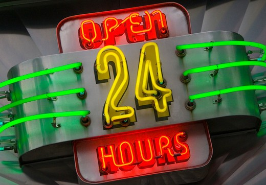 Stock Photo: 1885-28374 USA, New York State, New York, 24 hour Diner sign