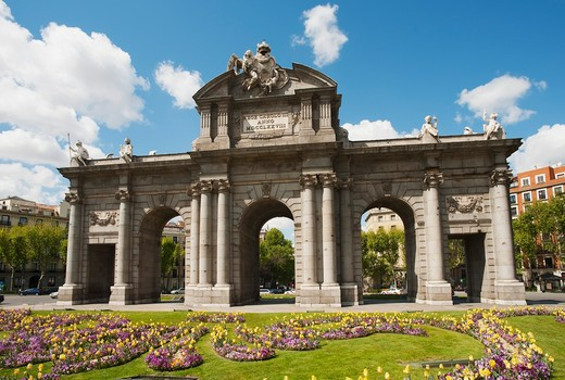 Spain, Madrid, Puerta de Alcala in spring : Stock Photo