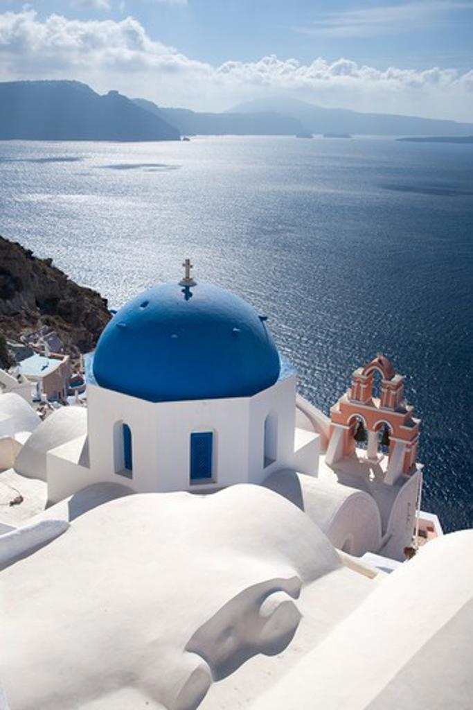 Greek Islands, Santorini Island, Oia, Church overlooking sea : Stock Photo