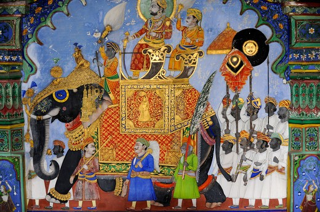 Stock Photo: 1885-28991 India, Rajasthan, Dungarpur, MIniature wall painting in the Juna Mahal Palace