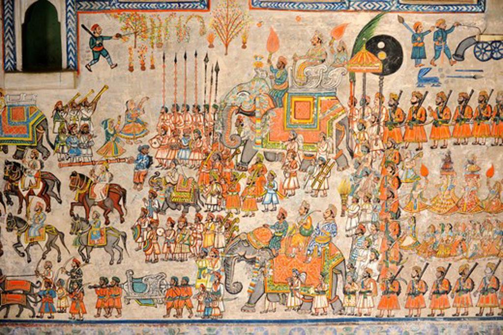 Stock Photo: 1885-28994 India, Rajasthan, Dungarpur, MIniature wall painting in the Juna Mahal Palace