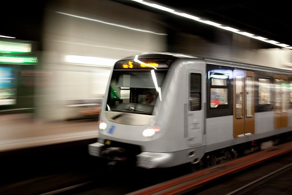 Belgium, Flanders, Brussels, Metro train : Stock Photo