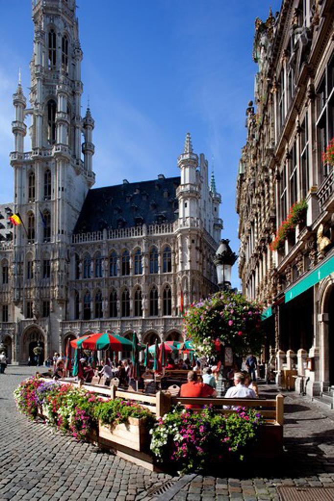 Belgium, Flanders, Brussels, Grand Place - restaurants : Stock Photo