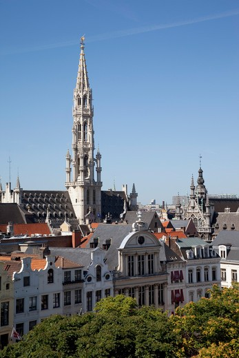 Belgium, Flanders, Brussels, Grand Place - Hotel de Ville and rooftops : Stock Photo