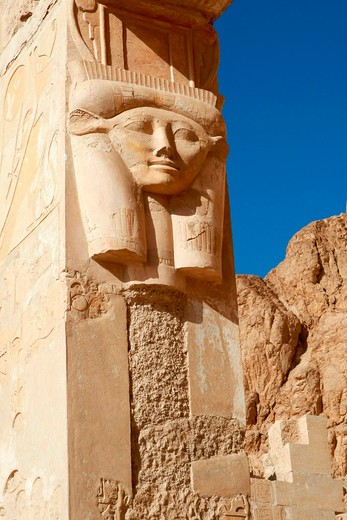 Stock Photo: 1885-29312 Egypt, Luxor - near, Carvings at Temple of Queen Hatshepsut