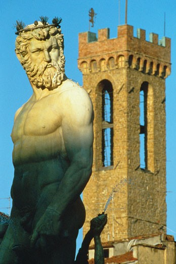 Stock Photo: 1885-3036 Italy, Tuscany, Florence, Figure of Neptune (close Up)