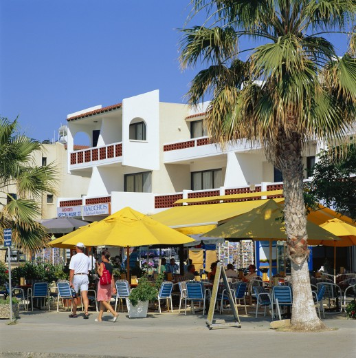 Cyprus, South, Paphos, Cafes along Seafront : Stock Photo