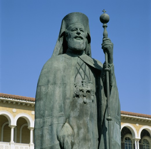Stock Photo: 1885-3500 Cyprus, North, Nicosia, Statue of Archbishop Makarios Iii