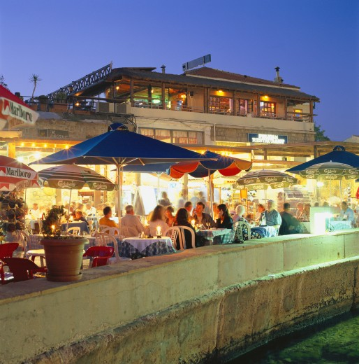 Cyprus, South, Paphos, Restaurants along Harbour : Stock Photo