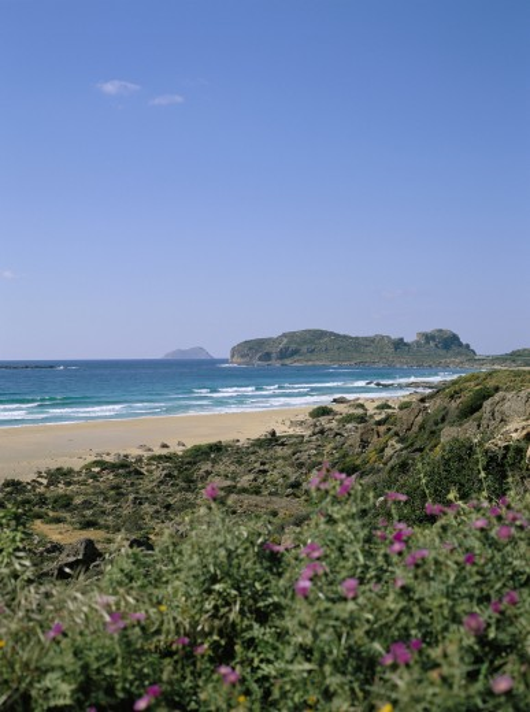 Greek Islands, Crete, Falasarna, Beach Scene : Stock Photo