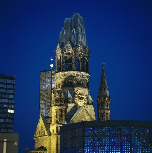 Germany, Brandenburg, Berlin, Kaiser Wilhelm Memorial Church at Night : Stock Photo
