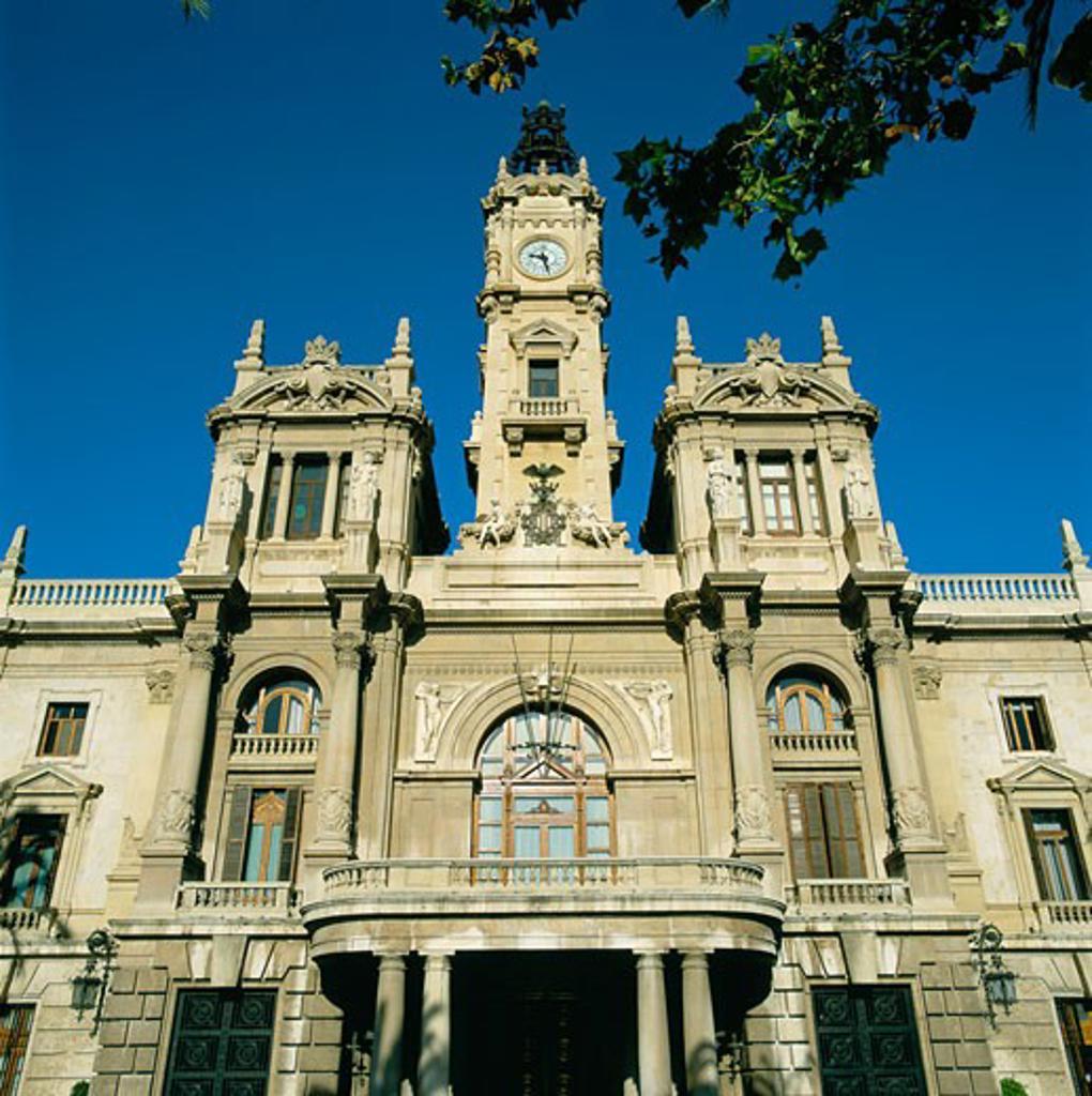Stock Photo: 1885-4917 Spain, Valencia Region, Valencia, Town Hall Facade (ayuntamiento)
