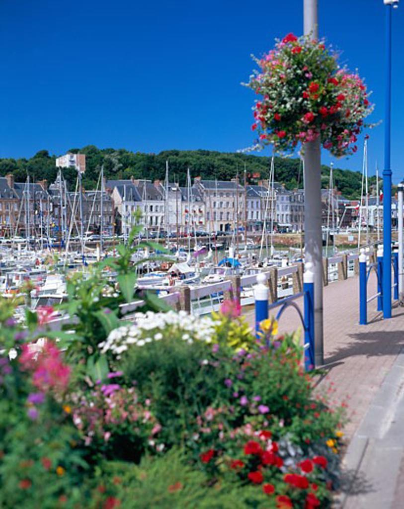 France, Normandy , St Valery En Caux, View of Harbour : Stock Photo