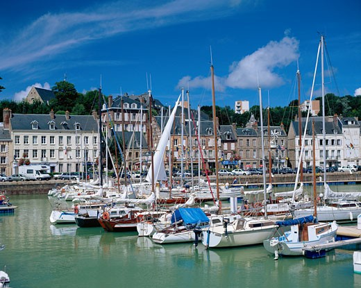 France, Normandy , St Valery En Caux, View of Harbour : Stock Photo
