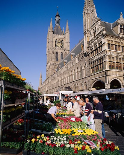 Belgium, Flanders, Ypres (Ieper), Flower Market with the Cloth Hall Behind : Stock Photo