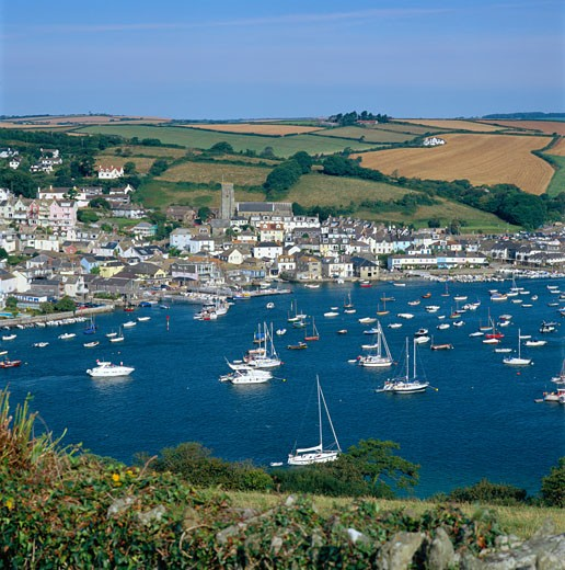 UK - England, Devon, Salcombe, View of Town across Estuary : Stock Photo