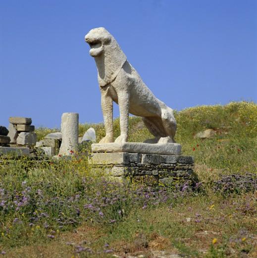 Stock Photo: 1885-6899 Greek Islands, Delos Island, Delos (Ancient City), Terrace of the Lions