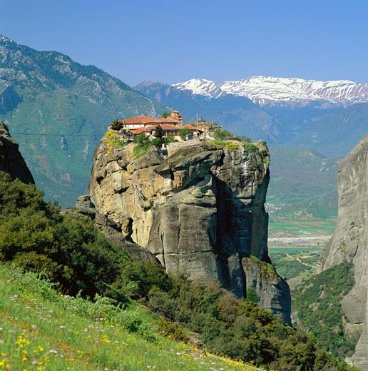 Greece, Central Greece, Meteora (Nr. Kalambaka), Aghia Triada (holy Trinity) Monastery : Stock Photo