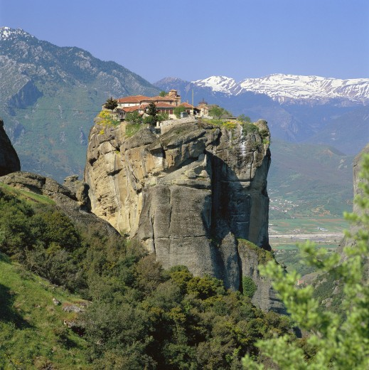 Greece, Central Greece, Meteora (Nr. Kalambaka), Aghia Triada (holy Trinity) Monastery : Stock Photo