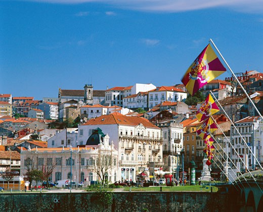Portugal, Beira Litoral, Coimbra, Town View from Ponte Santa Clara : Stock Photo