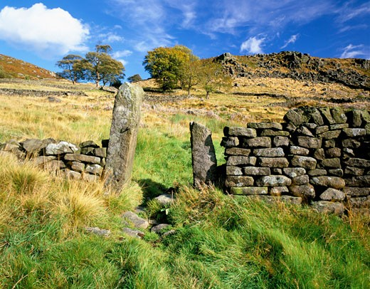 UK - England, Derbyshire , Baslow Edge National Park, Moorland with Dry Stone Wall (autumn) : Stock Photo