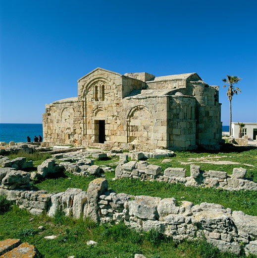Stock Photo: 1885-8027 Cyprus, North, Ayios Philion, Karpaz peninsula - ruined Christian Basilica