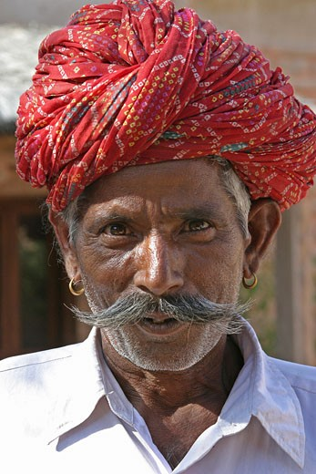 Stock Photo: 1885-8769 India, Rajasthan, General - people, Portrait of a Rajasthani man