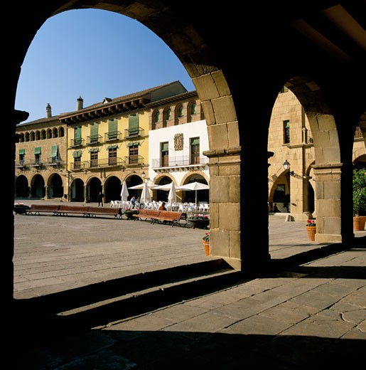 Spain, Catalunya, Barcelona, Plaza Mayor in Poble Espanyol : Stock Photo