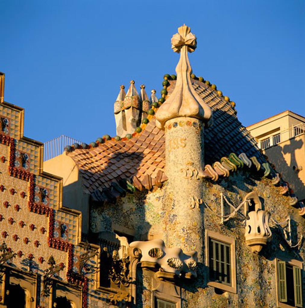 Stock Photo: 1885-8927 Spain, Catalunya, Barcelona, Casa Batllo by Gaudi