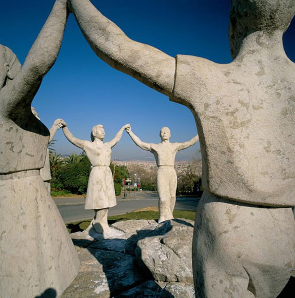 Spain, Catalunya, Barcelona, Sardana Statue of traditional dance : Stock Photo