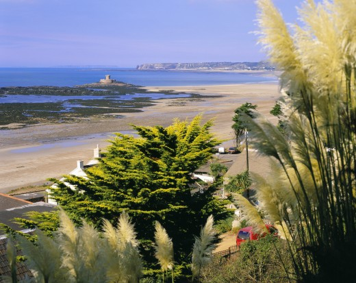 Stock Photo: 1885-9585 UK - Channel Islands, Jersey, St Ouen's Bay, View to Rocco Tower with pampas grass in bloom in the foreground