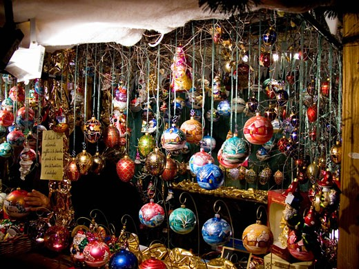 France, Champagne & The Ardennes, Reims, Christmas Market stall with Christmas decorations : Stock Photo